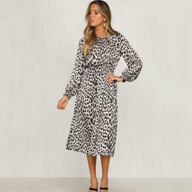 Women-Fashion-Sexy-O-Neck-Leopard-Print-Long-Sleeve-Midi-Dress-Ladies-Party-K6L4 thumbnail 4