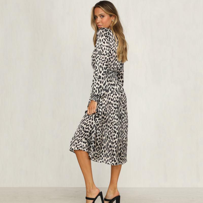Women-Fashion-Sexy-O-Neck-Leopard-Print-Long-Sleeve-Midi-Dress-Ladies-Party-K6L4 thumbnail 5