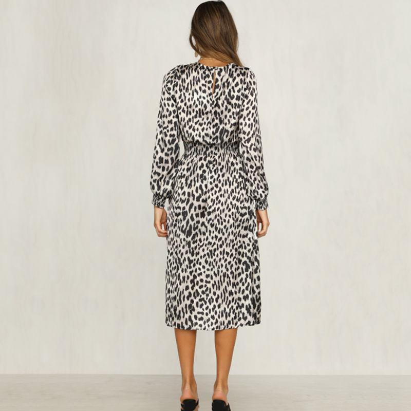 Women-Fashion-Sexy-O-Neck-Leopard-Print-Long-Sleeve-Midi-Dress-Ladies-Party-K6L4 thumbnail 6
