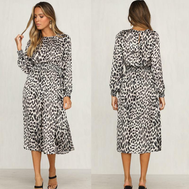 Women-Fashion-Sexy-O-Neck-Leopard-Print-Long-Sleeve-Midi-Dress-Ladies-Party-K6L4 thumbnail 7