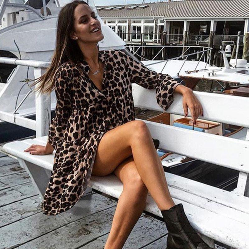 Mode-Femme-Sexy-Manche-evasee-Col-En-V-Mini-Robe-Dames-Fete-Volants-a-Manch-H8C1 miniature 16