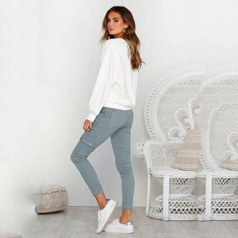 Pantalones-Lapiz-Multibolsillo-De-Moda-Para-Mujer-Pantalones-Largos-Elastic-N4D7 miniatura 3