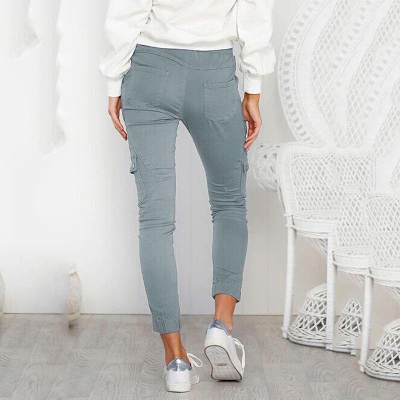 Pantalones-Lapiz-Multibolsillo-De-Moda-Para-Mujer-Pantalones-Largos-Elastic-N4D7 miniatura 4