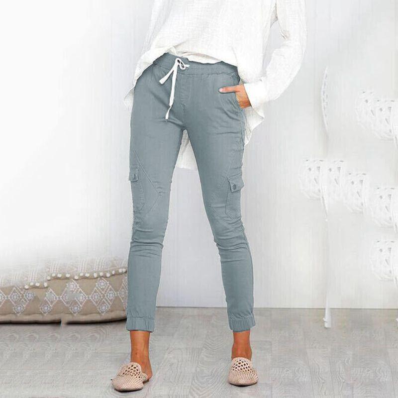 Pantalones-Lapiz-Multibolsillo-De-Moda-Para-Mujer-Pantalones-Largos-Elastic-N4D7 miniatura 5