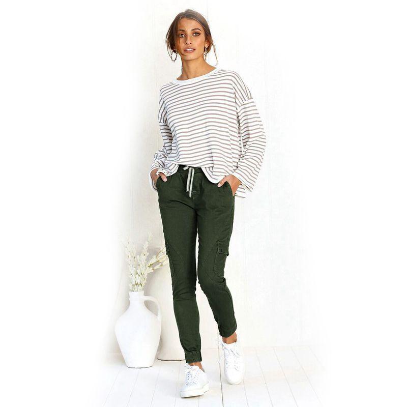 Pantalones-Lapiz-Multibolsillo-De-Moda-Para-Mujer-Pantalones-Largos-Elastic-N4D7 miniatura 12