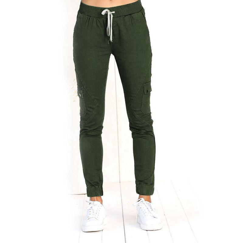 Pantalones-Lapiz-Multibolsillo-De-Moda-Para-Mujer-Pantalones-Largos-Elastic-N4D7 miniatura 14