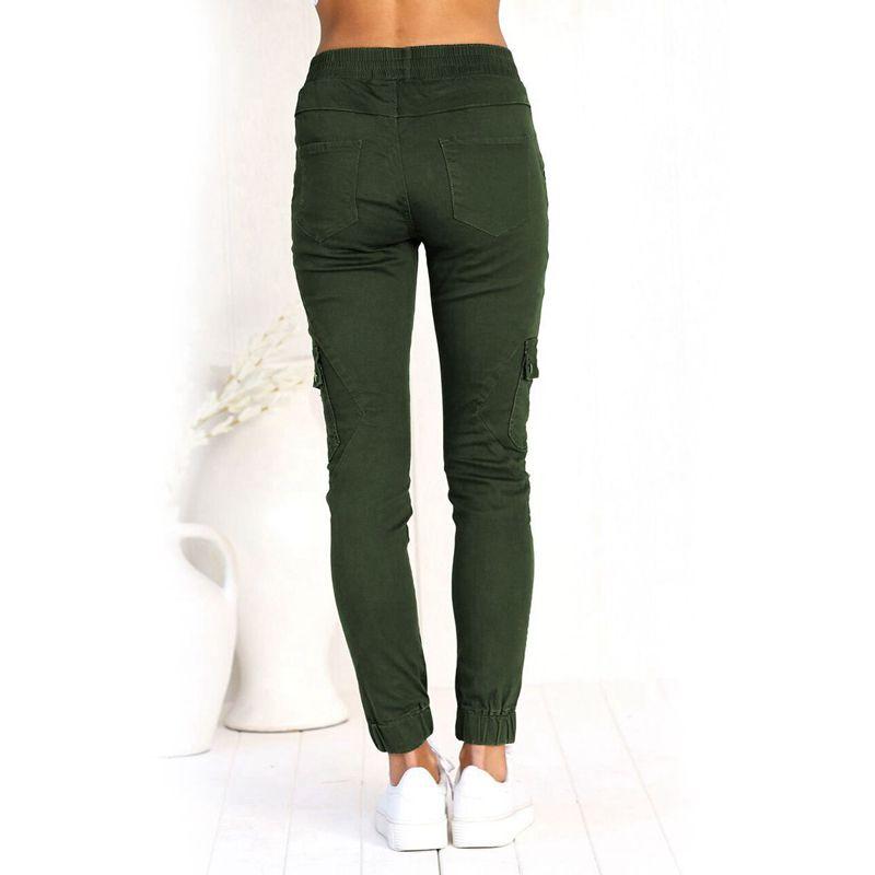 Pantalones-Lapiz-Multibolsillo-De-Moda-Para-Mujer-Pantalones-Largos-Elastic-N4D7 miniatura 15