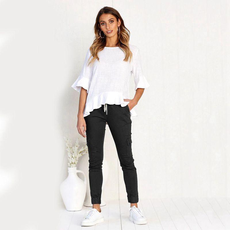 Pantalones-Lapiz-Multibolsillo-De-Moda-Para-Mujer-Pantalones-Largos-Elastic-N4D7 miniatura 20