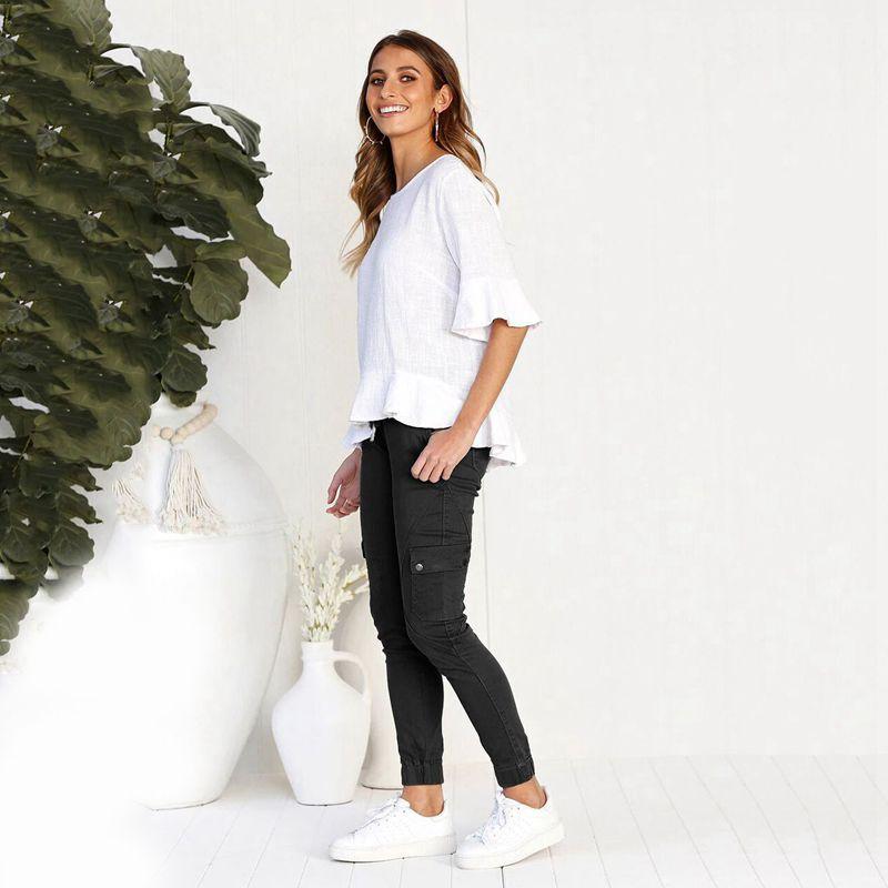 Pantalones-Lapiz-Multibolsillo-De-Moda-Para-Mujer-Pantalones-Largos-Elastic-N4D7 miniatura 21