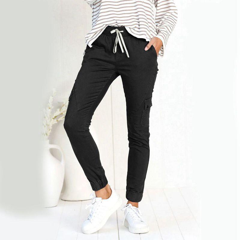 Pantalones-Lapiz-Multibolsillo-De-Moda-Para-Mujer-Pantalones-Largos-Elastic-N4D7 miniatura 22
