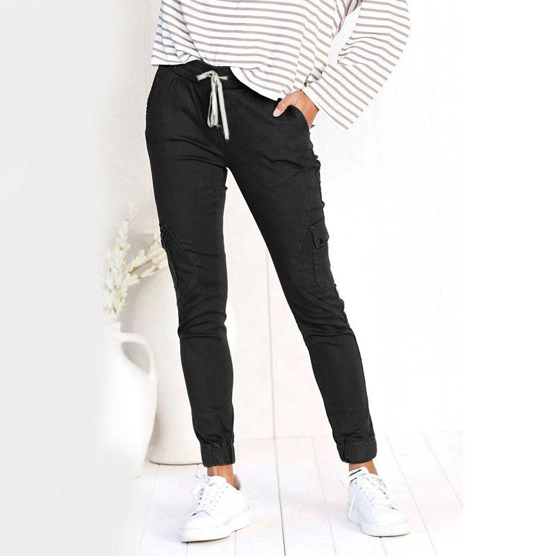 Pantalones-Lapiz-Multibolsillo-De-Moda-Para-Mujer-Pantalones-Largos-Elastic-N4D7 miniatura 23