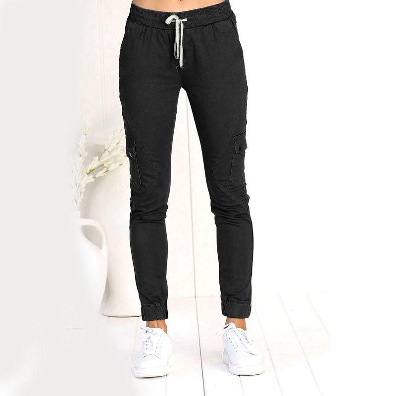 Pantalones-Lapiz-Multibolsillo-De-Moda-Para-Mujer-Pantalones-Largos-Elastic-N4D7 miniatura 24