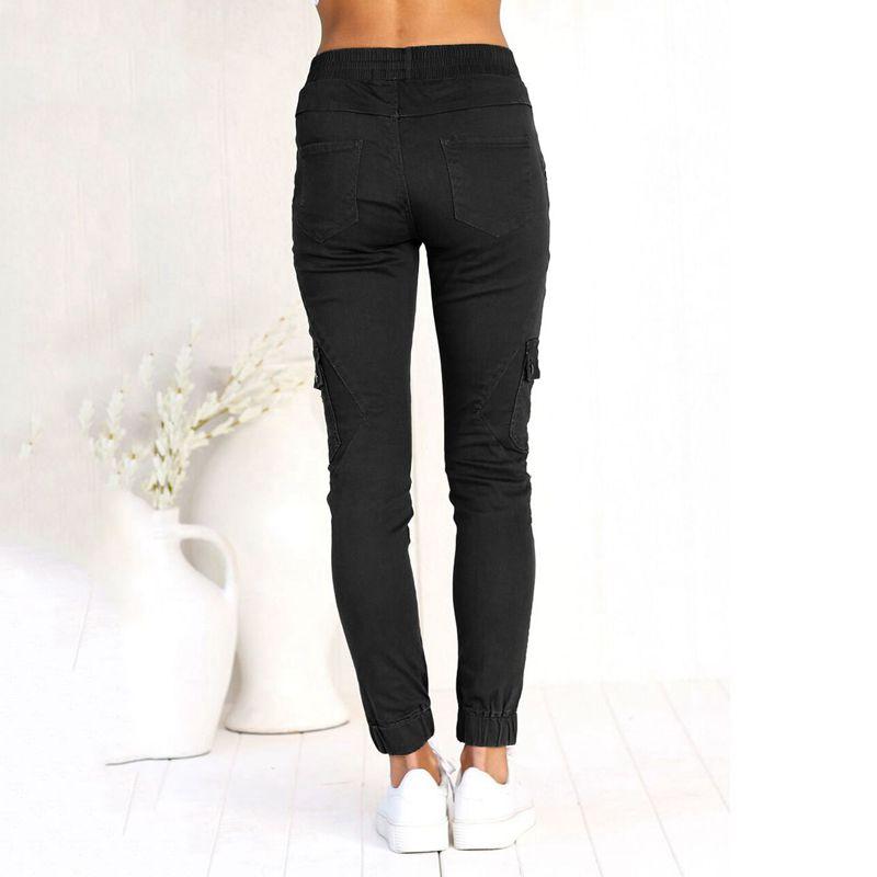 Pantalones-Lapiz-Multibolsillo-De-Moda-Para-Mujer-Pantalones-Largos-Elastic-N4D7 miniatura 25