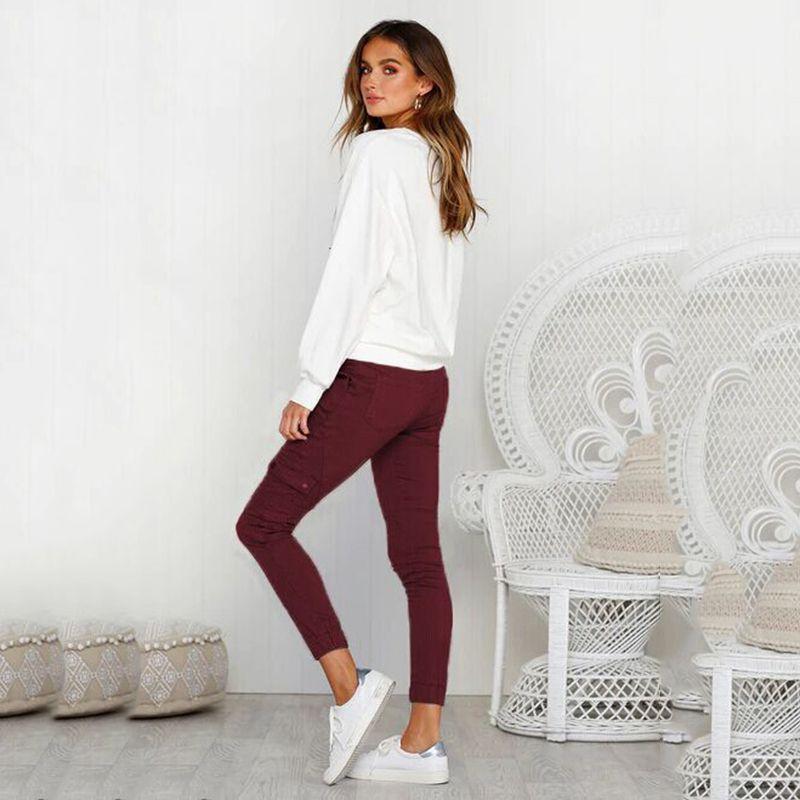 Pantalones-Lapiz-Multibolsillo-De-Moda-Para-Mujer-Pantalones-Largos-Elastic-N4D7 miniatura 30