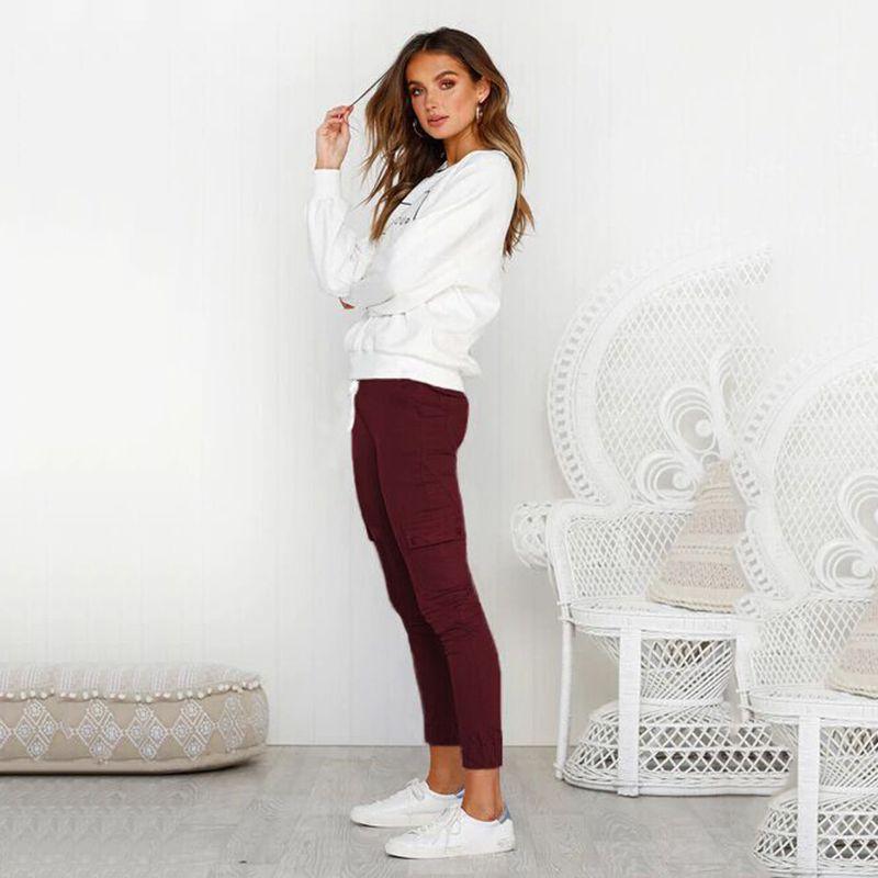 Pantalones-Lapiz-Multibolsillo-De-Moda-Para-Mujer-Pantalones-Largos-Elastic-N4D7 miniatura 31