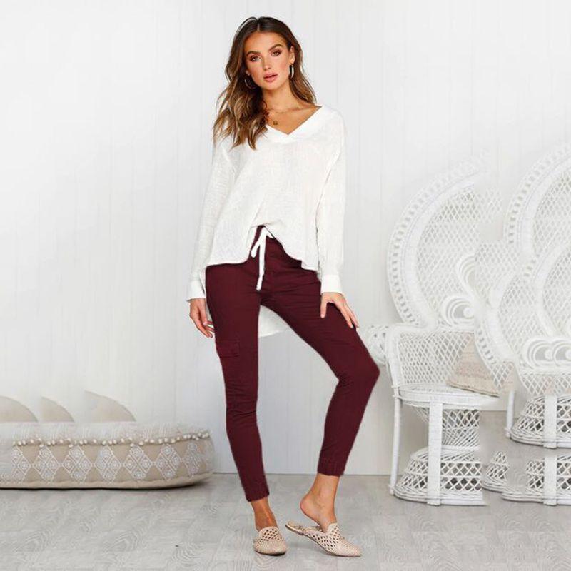 Pantalones-Lapiz-Multibolsillo-De-Moda-Para-Mujer-Pantalones-Largos-Elastic-N4D7 miniatura 32
