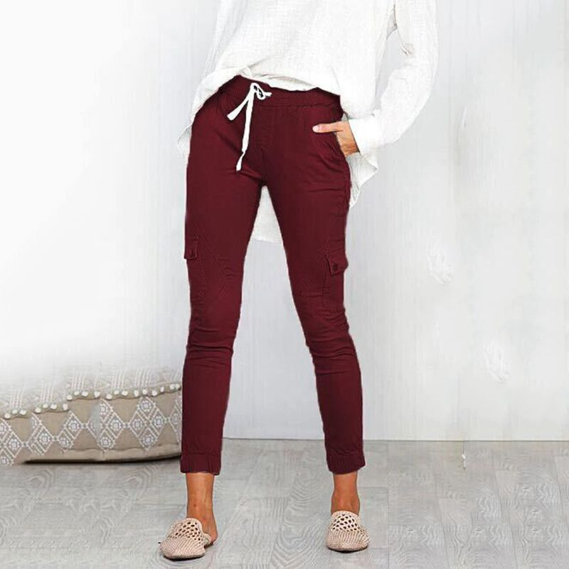 Pantalones-Lapiz-Multibolsillo-De-Moda-Para-Mujer-Pantalones-Largos-Elastic-N4D7 miniatura 33