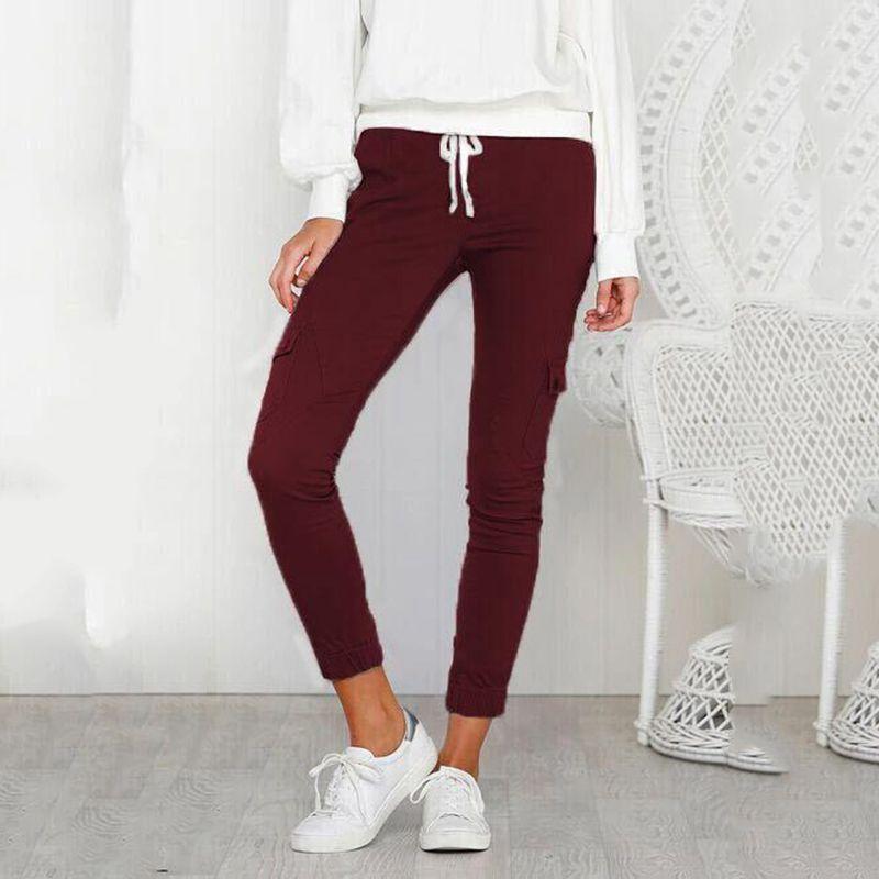 Pantalones-Lapiz-Multibolsillo-De-Moda-Para-Mujer-Pantalones-Largos-Elastic-N4D7 miniatura 34