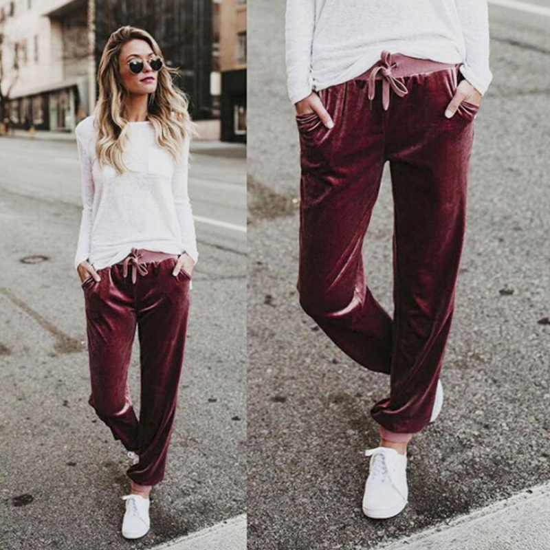 Fashion-Wide-Leg-Pant-Women-Ladies-Velvet-Trousers-Casual-Loose-Holiday-Beach-Q6 thumbnail 3