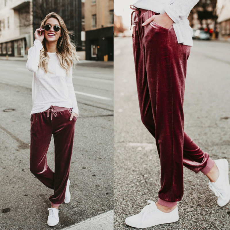 Fashion-Wide-Leg-Pant-Women-Ladies-Velvet-Trousers-Casual-Loose-Holiday-Beach-Q6 thumbnail 4