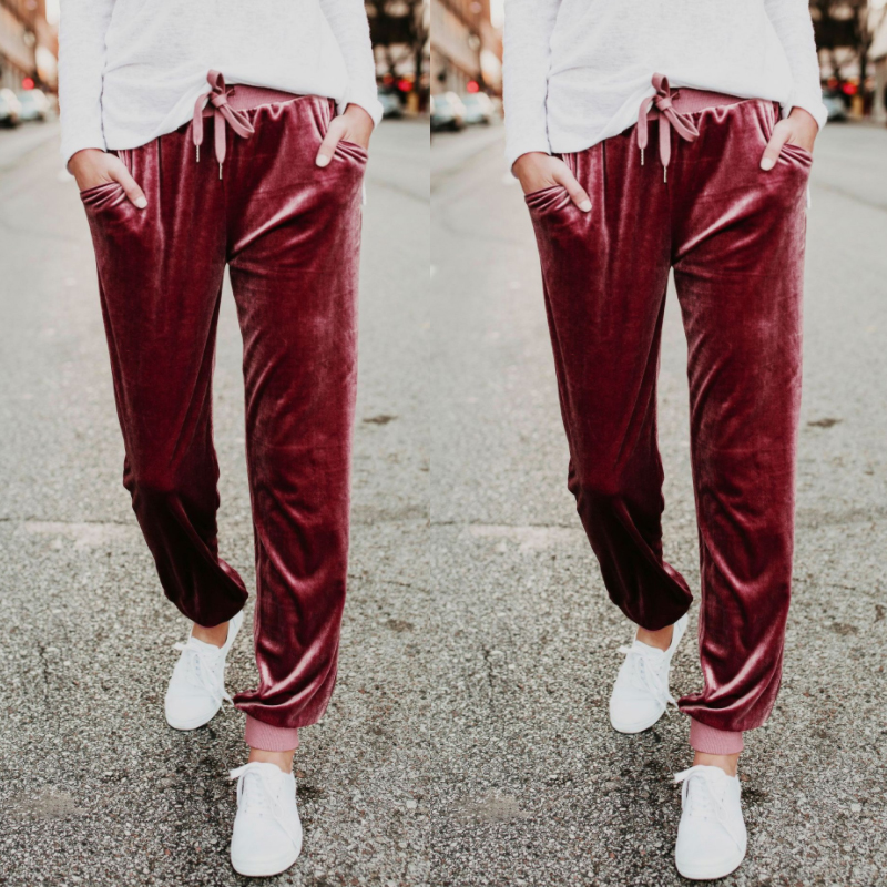 Fashion-Wide-Leg-Pant-Women-Ladies-Velvet-Trousers-Casual-Loose-Holiday-Beach-Q6 thumbnail 7