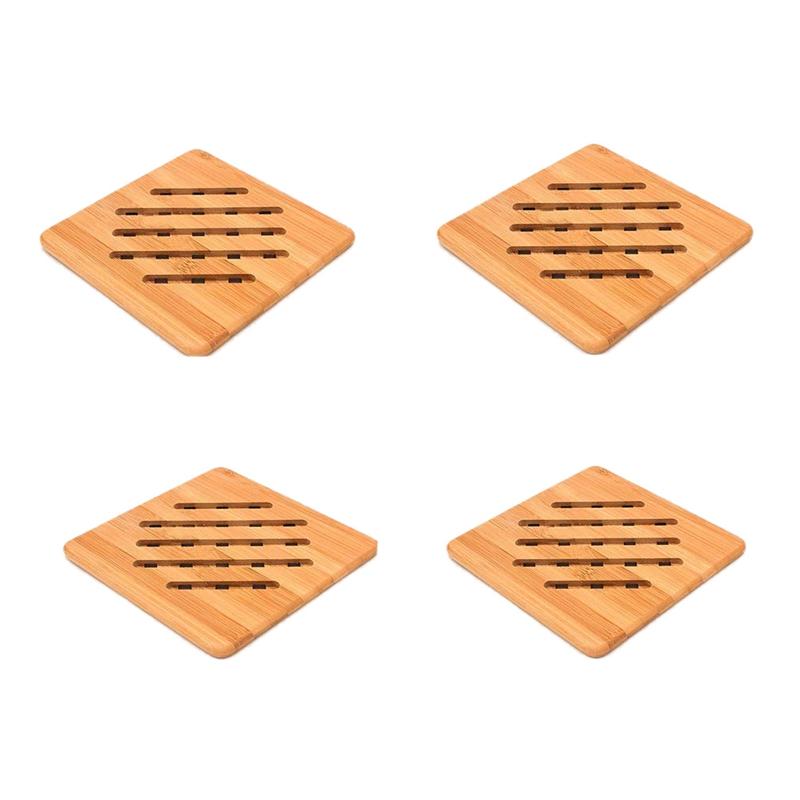 3X(BambÙ Sottopentola, Set di 4 Supporti per I Vasi per Hot Padelle   Piatt Q2Z1