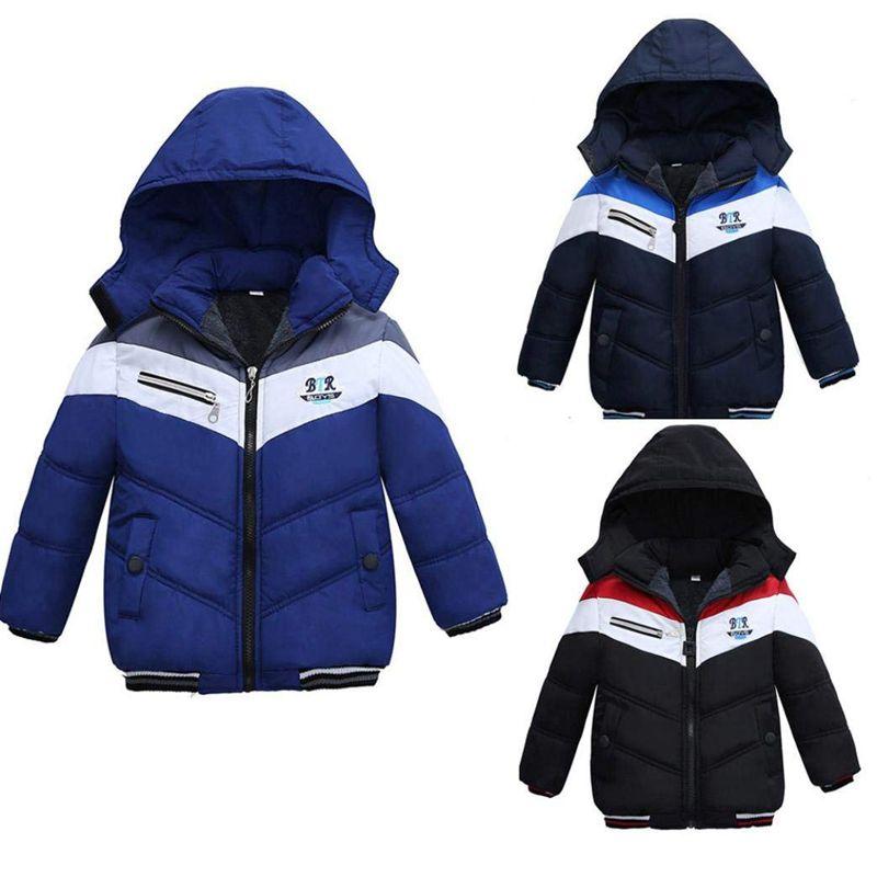 Manteau-Pour-Garcons-Filles-Bebe-Bambin-Vetement-De-Coton-Epais-D-039-Hiver-Pou-Q2L7 miniature 5