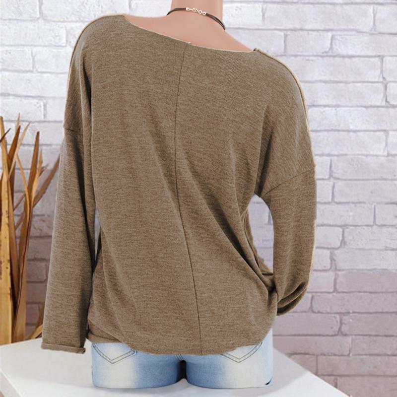 Chandail-Tricote-a-Longue-Manche-De-Couleur-Pure-De-Col-En-V-a-La-Mode-Pour-O3D9 miniature 10