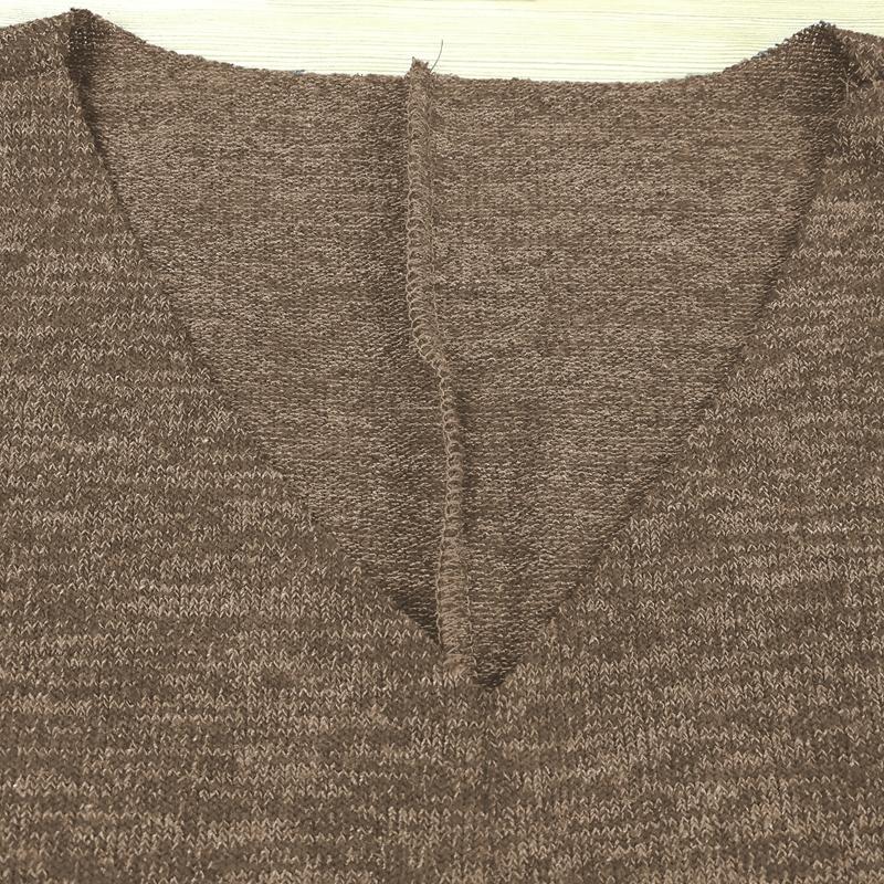 Chandail-Tricote-a-Longue-Manche-De-Couleur-Pure-De-Col-En-V-a-La-Mode-Pour-O3D9 miniature 12