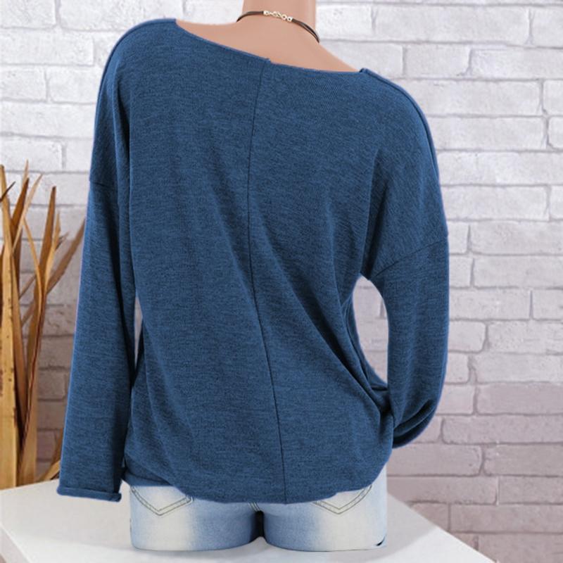 Chandail-Tricote-a-Longue-Manche-De-Couleur-Pure-De-Col-En-V-a-La-Mode-Pour-O3D9 miniature 23