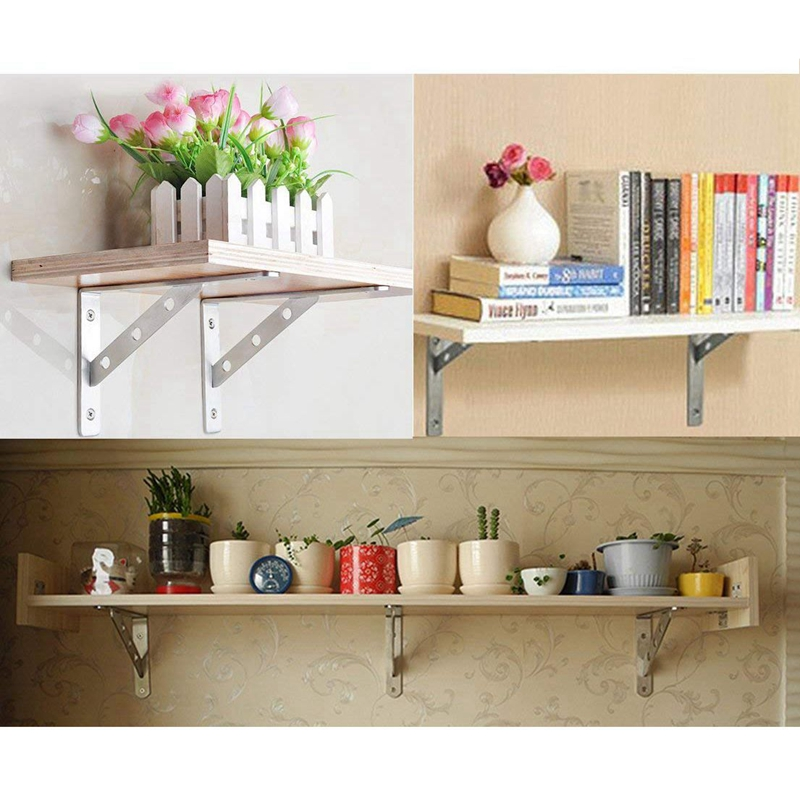 Details about 2X(Quality SUS 304 Solid Stainless Steel 90 Degree Angle Wall  Mounted Shelf S Z3