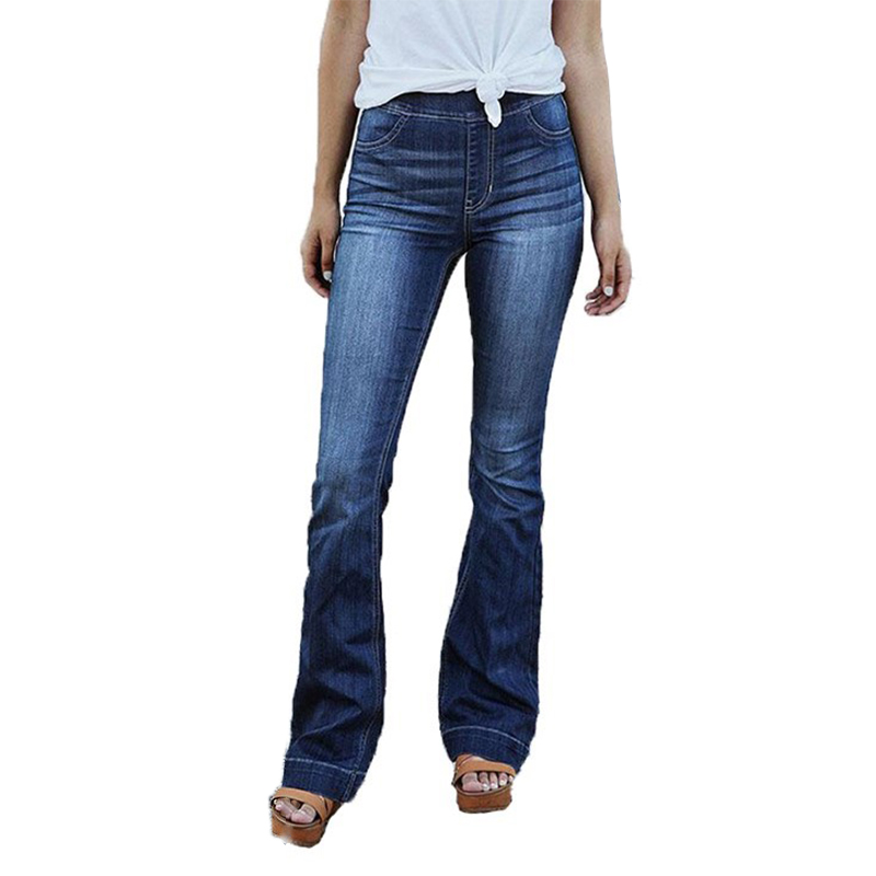Details about Women Elastic Waist Stretchy Wide Leg Jeans Ladies Casual  Washed Flare Pant V8O9 41188c2d9