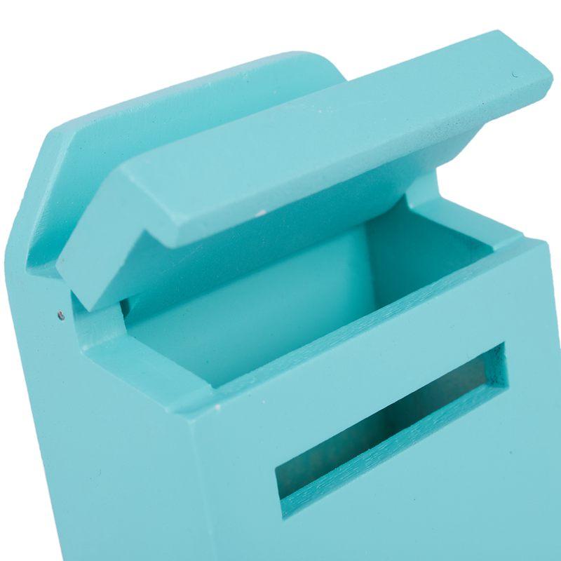 thumbnail 28 - 1-12-Wooden-Mailbox-Dollhouse-Miniature-Fairy-Garden-Decor-Blue-W9O9
