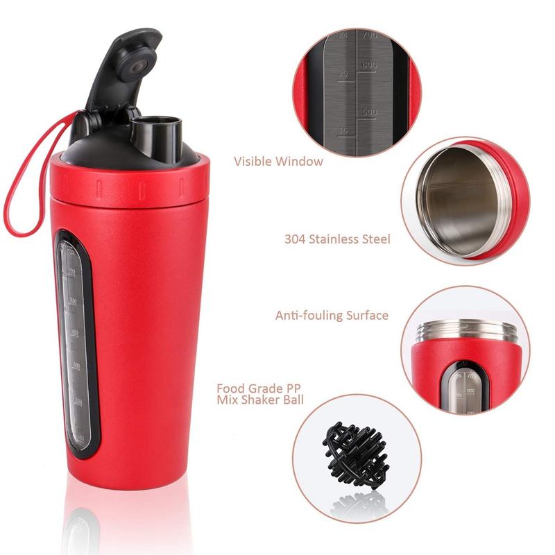 Protein-Shaker-Bottle-Stainless-Steel-Sports-Water-Bottle-Shaker-Cup-Leak-M3R7 thumbnail 5