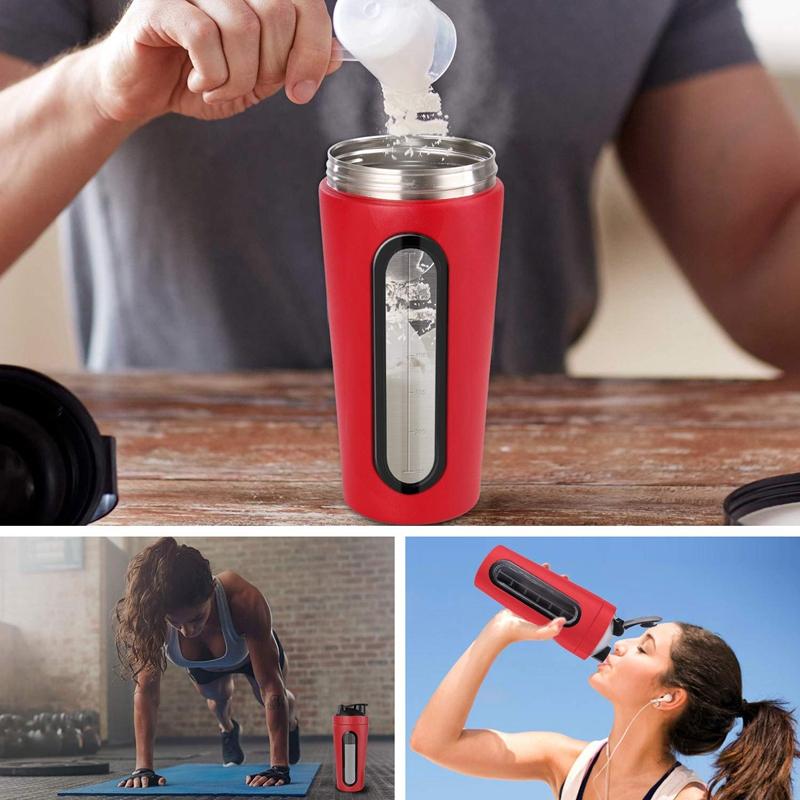 Protein-Shaker-Bottle-Stainless-Steel-Sports-Water-Bottle-Shaker-Cup-Leak-M3R7 thumbnail 6