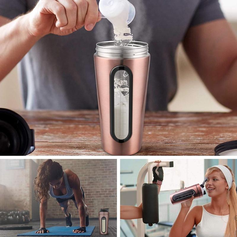 Protein-Shaker-Bottle-Stainless-Steel-Sports-Water-Bottle-Shaker-Cup-Leak-M3R7 thumbnail 27