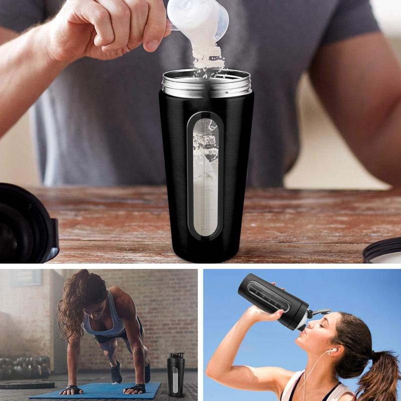 Protein-Shaker-Bottle-Stainless-Steel-Sports-Water-Bottle-Shaker-Cup-Leak-M3R7 thumbnail 34