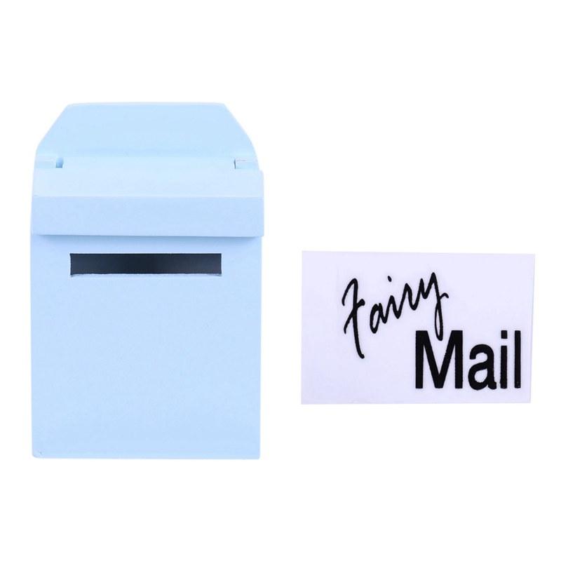 thumbnail 3 - 1-12-Wooden-Mailbox-Dollhouse-Miniature-Fairy-Garden-Decor-Blue-W9O9