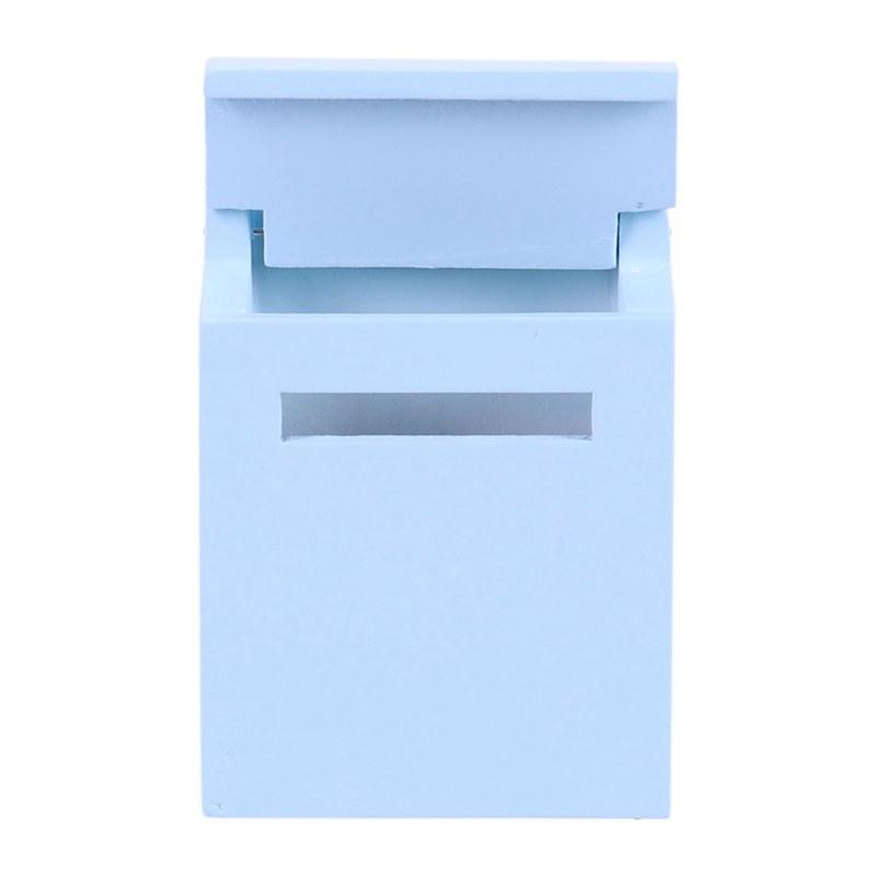 thumbnail 9 - 1-12-Wooden-Mailbox-Dollhouse-Miniature-Fairy-Garden-Decor-Blue-W9O9