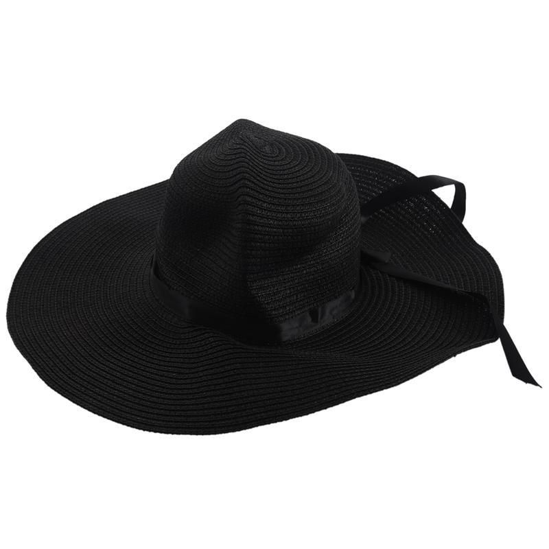 Cappello da Spiaggia da Donna Tesa Larga da Fiocco Cappello di Paglia Anti-  V5R4 a9abd24dcf01