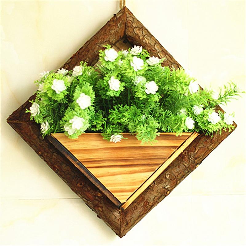 2X-Holz-Garten-Haengen-Wasserdicht-Diamant-Blumen-Topf-Blumen-Garten-Garten-G8H6 Indexbild 3