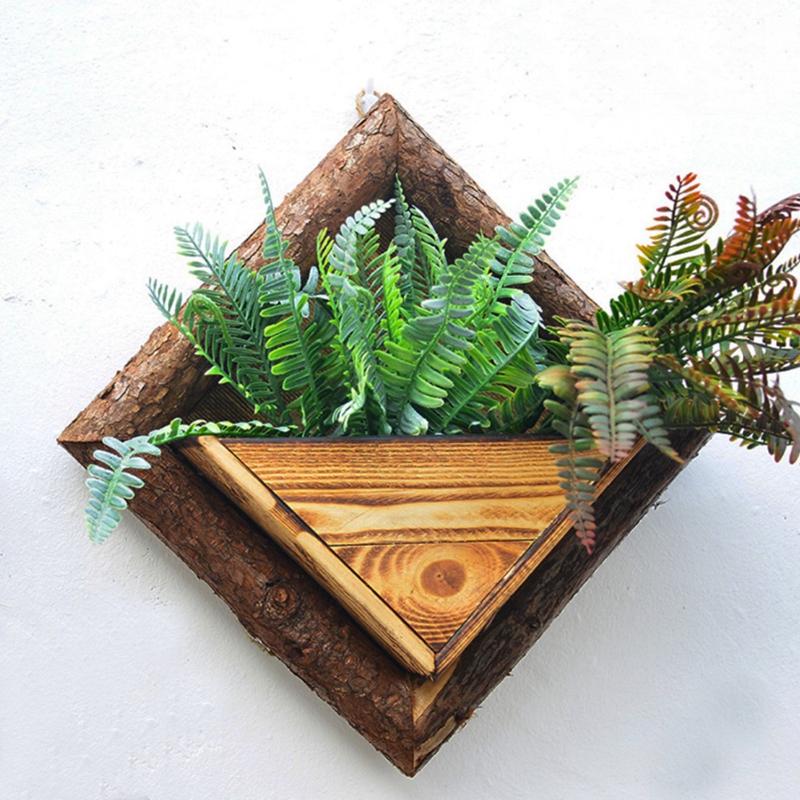 2X-Holz-Garten-Haengen-Wasserdicht-Diamant-Blumen-Topf-Blumen-Garten-Garten-G8H6 Indexbild 4