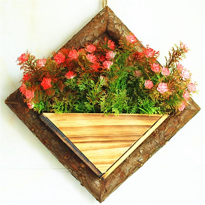 2X-Holz-Garten-Haengen-Wasserdicht-Diamant-Blumen-Topf-Blumen-Garten-Garten-G8H6 Indexbild 5