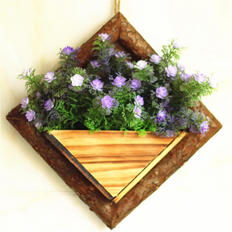 2X-Holz-Garten-Haengen-Wasserdicht-Diamant-Blumen-Topf-Blumen-Garten-Garten-G8H6 Indexbild 6