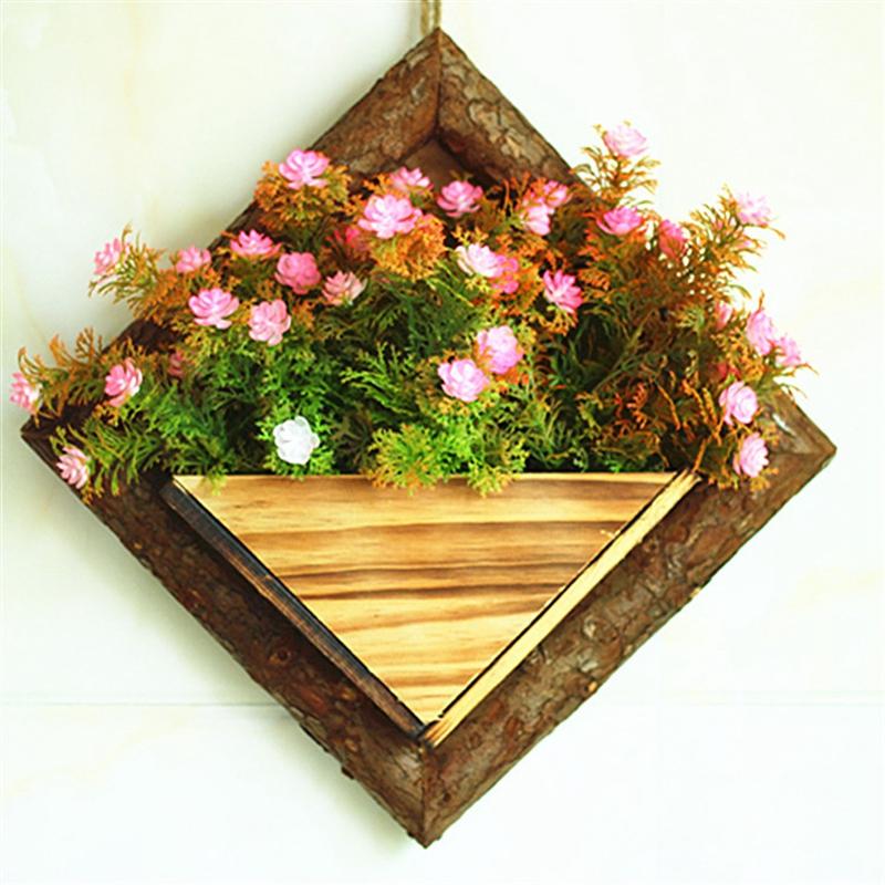 2X-Holz-Garten-Haengen-Wasserdicht-Diamant-Blumen-Topf-Blumen-Garten-Garten-G8H6 Indexbild 7