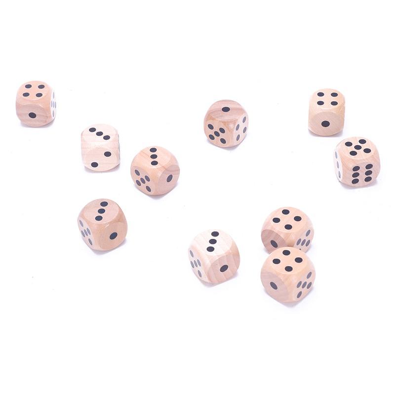10-a-Six-Cotes-D6-Des-pour-Jeux-DE-Societe-Fait-DE-Bois-A1T8 miniature 9