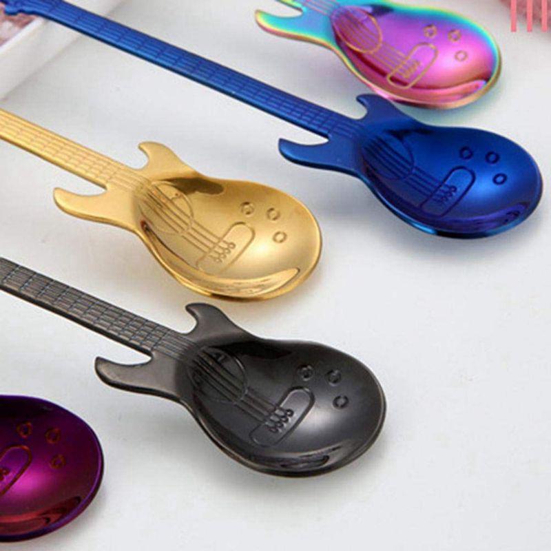 Colorée Dessert En Acier Inoxydable V9V9 6 Pcs Café Cuillères Guitare Cuillère