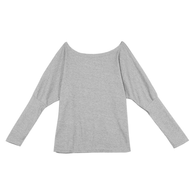 T-Shirt-Chandail-Cotele-En-Tricot-A-Longues-Manches-Une-Epaule-Sexy-Pour-Fe-E6P1 miniature 19