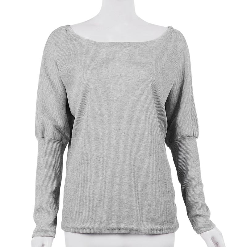 T-Shirt-Chandail-Cotele-En-Tricot-A-Longues-Manches-Une-Epaule-Sexy-Pour-Fe-E6P1 miniature 20