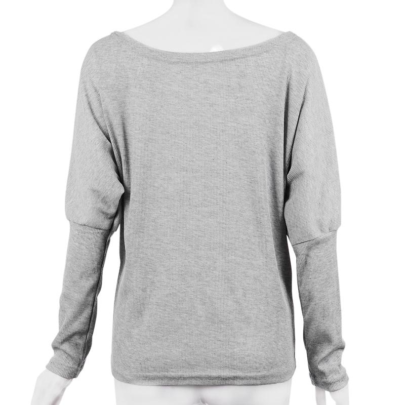 T-Shirt-Chandail-Cotele-En-Tricot-A-Longues-Manches-Une-Epaule-Sexy-Pour-Fe-E6P1 miniature 22